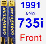 Front Wiper Blade Pack for 1991 BMW 735i - Premium