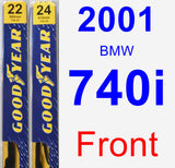 Front Wiper Blade Pack for 2001 BMW 740i - Premium