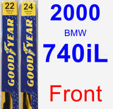 Front Wiper Blade Pack for 2000 BMW 740iL - Premium