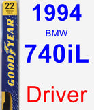 Driver Wiper Blade for 1994 BMW 740iL - Premium