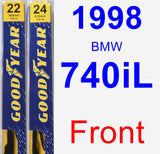 Front Wiper Blade Pack for 1998 BMW 740iL - Premium