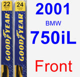 Front Wiper Blade Pack for 2001 BMW 750iL - Premium