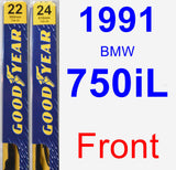 Front Wiper Blade Pack for 1991 BMW 750iL - Premium