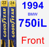 Front Wiper Blade Pack for 1994 BMW 750iL - Premium