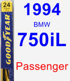 Passenger Wiper Blade for 1994 BMW 750iL - Premium