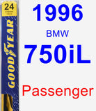 Passenger Wiper Blade for 1996 BMW 750iL - Premium