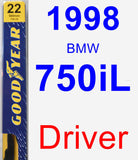 Driver Wiper Blade for 1998 BMW 750iL - Premium