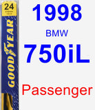 Passenger Wiper Blade for 1998 BMW 750iL - Premium