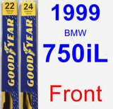 Front Wiper Blade Pack for 1999 BMW 750iL - Premium