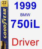 Driver Wiper Blade for 1999 BMW 750iL - Premium