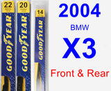 Front & Rear Wiper Blade Pack for 2004 BMW X3 - Premium