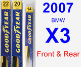 Front & Rear Wiper Blade Pack for 2007 BMW X3 - Premium