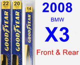 Front & Rear Wiper Blade Pack for 2008 BMW X3 - Premium