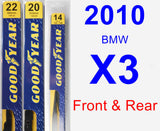 Front & Rear Wiper Blade Pack for 2010 BMW X3 - Premium