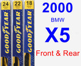 Front & Rear Wiper Blade Pack for 2000 BMW X5 - Premium