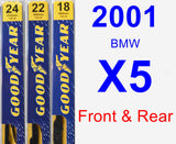Front & Rear Wiper Blade Pack for 2001 BMW X5 - Premium