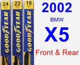 Front & Rear Wiper Blade Pack for 2002 BMW X5 - Premium