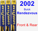 Front & Rear Wiper Blade Pack for 2002 Buick Rendezvous - Premium