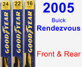 Front & Rear Wiper Blade Pack for 2005 Buick Rendezvous - Premium