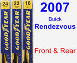Front & Rear Wiper Blade Pack for 2007 Buick Rendezvous - Premium