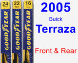 Front & Rear Wiper Blade Pack for 2005 Buick Terraza - Premium