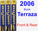 Front & Rear Wiper Blade Pack for 2006 Buick Terraza - Premium
