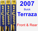 Front & Rear Wiper Blade Pack for 2007 Buick Terraza - Premium