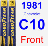 Front Wiper Blade Pack for 1981 Chevrolet C10 - Premium