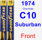 Front Wiper Blade Pack for 1974 Chevrolet C10 Suburban - Premium