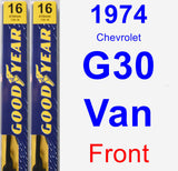 Front Wiper Blade Pack for 1974 Chevrolet G30 Van - Premium