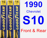 Front & Rear Wiper Blade Pack for 1990 Chevrolet S10 - Premium