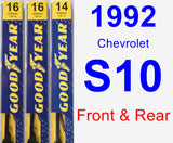Front & Rear Wiper Blade Pack for 1992 Chevrolet S10 - Premium