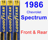 Front & Rear Wiper Blade Pack for 1986 Chevrolet Spectrum - Premium