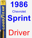 Driver Wiper Blade for 1986 Chevrolet Sprint - Premium