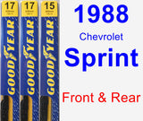 Front & Rear Wiper Blade Pack for 1988 Chevrolet Sprint - Premium