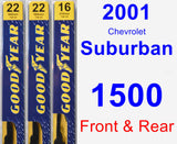 Front & Rear Wiper Blade Pack for 2001 Chevrolet Suburban 1500 - Premium