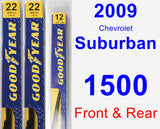 Front & Rear Wiper Blade Pack for 2009 Chevrolet Suburban 1500 - Premium