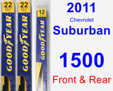 Front & Rear Wiper Blade Pack for 2011 Chevrolet Suburban 1500 - Premium