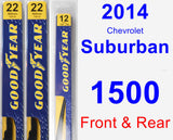 Front & Rear Wiper Blade Pack for 2014 Chevrolet Suburban 1500 - Premium