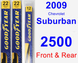 Front & Rear Wiper Blade Pack for 2009 Chevrolet Suburban 2500 - Premium