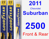 Front & Rear Wiper Blade Pack for 2011 Chevrolet Suburban 2500 - Premium