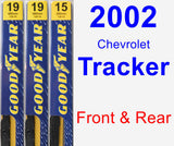 Front & Rear Wiper Blade Pack for 2002 Chevrolet Tracker - Premium
