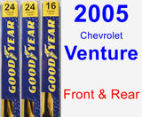 Front & Rear Wiper Blade Pack for 2005 Chevrolet Venture - Premium