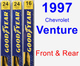 Front & Rear Wiper Blade Pack for 1997 Chevrolet Venture - Premium