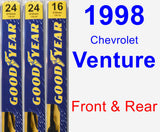 Front & Rear Wiper Blade Pack for 1998 Chevrolet Venture - Premium