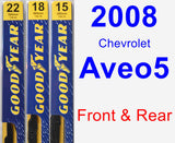 Front & Rear Wiper Blade Pack for 2008 Chevrolet Aveo5 - Premium