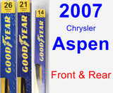 Front & Rear Wiper Blade Pack for 2007 Chrysler Aspen - Premium