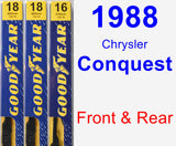 Front & Rear Wiper Blade Pack for 1988 Chrysler Conquest - Premium
