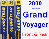 Front & Rear Wiper Blade Pack for 2000 Chrysler Grand Voyager - Premium