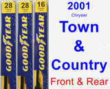 Front & Rear Wiper Blade Pack for 2001 Chrysler Town & Country - Premium